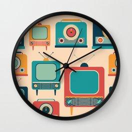 Retro TVs and Radios Wall Clock