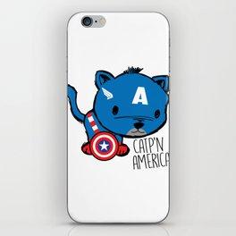 Superhero Cat Catp'n America Cute Kitten iPhone Skin