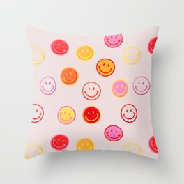 Smiling Faces Pattern Throw Pillow