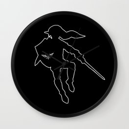 Link Silhouette Black Background Wall Clock