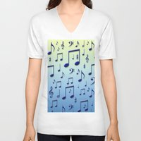 music notes V-neck T-shirts featuring Music notes by Gaspar Avila
