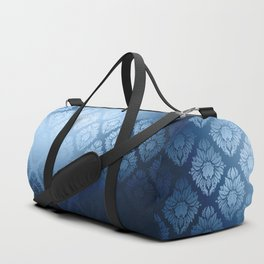 """Navy blue Damask Pattern"" Duffle Bag"