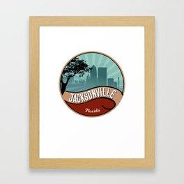 Jacksonville City Skyline Design Florida Retro Vintage 80s Framed Art Print