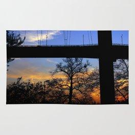 bridge and sunset Rug