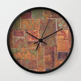 Red Patina Patchwork Wall Clock