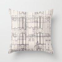 blueprint Throw Pillows featuring Blueprint by hoopderscotch