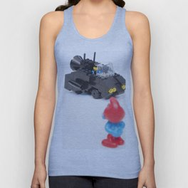 Concept Car Photography Toy with Red and Blue Figurine Unisex Tank Top