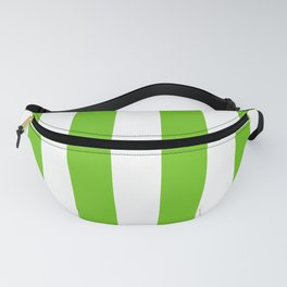 Alien Green and White Cabana Tent Stripes Fanny Pack