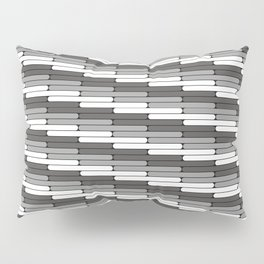 Staggered Oblong Rounded Lines Pattern Pantone Pewter Gray Pillow Sham
