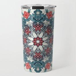 Coral & Teal Tangle Medallion Travel Mug