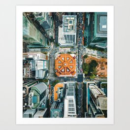 Aerial Cityscape View (Color) Art Print