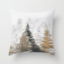 Watercolor Pine Trees 3 Throw Pillow