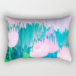 No Rain, No Flowers - tulip Glitch #homedecor #buyart Rectangular Pillow
