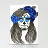 sugar skull Stationery Cards featuring Sugar Skull by Lidiane Dutra