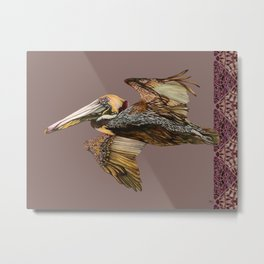 Brown Pelican Flight with Vintage Burgundy Stripe Metal Print