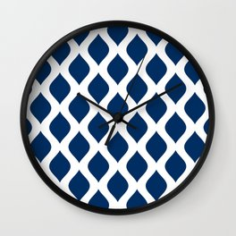Dark blue and white curved lines pattern Wall Clock