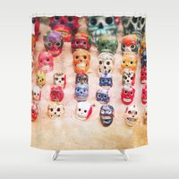 sugar skulls Shower Curtains featuring Sugar Skulls by Jenndalyn