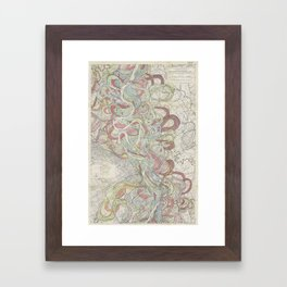 Beautiful Map of the Lower Mississippi River Framed Art Print