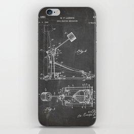 Drum Pedal Patent - Drum Set Art - Black Chalkboard iPhone Skin