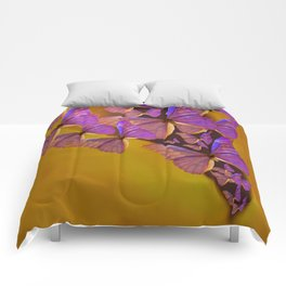 Shiny Purple Butterflies On A Ocher Color Background #decor #society6 Comforters