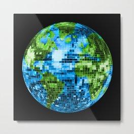 Galactic Disco Ball Planet Earth  Metal Print
