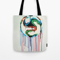 world cup Tote Bags featuring Bleed World Cup by DesignYourLife