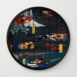 Warriors On The Field Traditional Japanese Characters Wall Clock