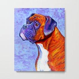 Colorful Brindle Boxer Dog Metal Print