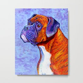 Devoted Guardian - Brindle Boxer Dog Metal Print