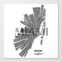 Miami Map Canvas Print
