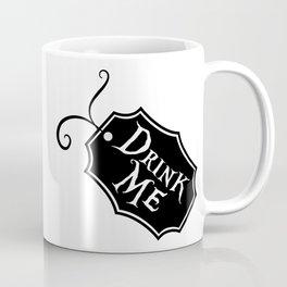 """Drink Me"" Alice in Wonderland styled Bottle Tag Design in Black & White Coffee Mug"