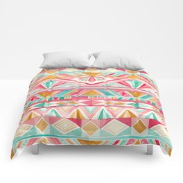 Spring Gems // Pink Gold and Turquoise Geometric Pattern Comforters