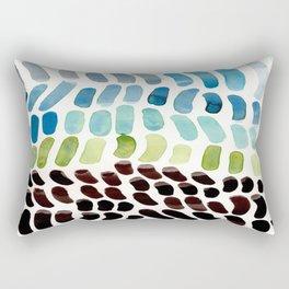 Blue & Green Colorful Aquatic Watercolor Organic Pattern Natural Art Abstract Mid Century Modern Pla Rectangular Pillow