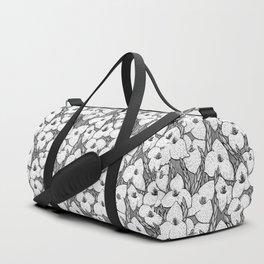 Puya Flowers Floral Pattern Greyscale Duffle Bag