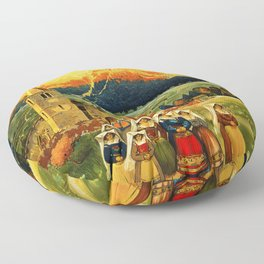 Vintage Abruzzo Italy Travel Floor Pillow
