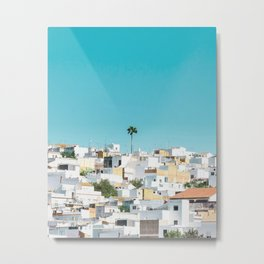 WHITE AND BROWN CONCRETE HOUSES UNDER BLUE SKY DURING DAYTIME Metal Print