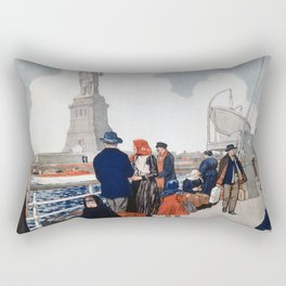 Vintage Immigrants & Statue of Liberty Illustration (1917) Rectangular Pillow