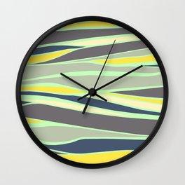 banana, mint and gray stripes  Wall Clock