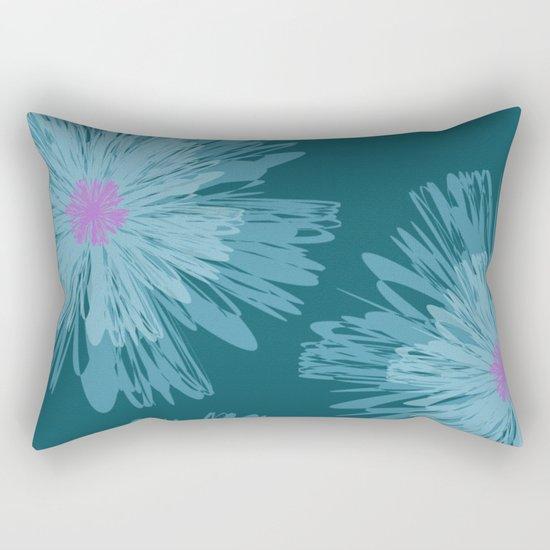Big Blue Flowers Rectangular Pillow