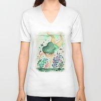 diver V-neck T-shirts featuring Diver by Jenny Jordahl