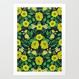 Kelly Green, Navy Blue, Lime & Yellow Floral Pattern Art Print