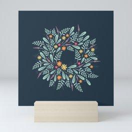 Navy Blue Boho Chic Spring Floral Botanical Teal Mint Green Ferns Leaf Wreath Mini Art Print