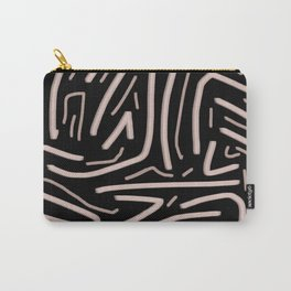 Pink abstract stripes with black background Carry-All Pouch