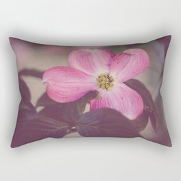 Pink Dogwood and Leaves Rectangular Pillow