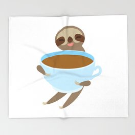 sloth & coffee 3 Throw Blanket