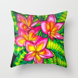 Pink Plumeria on Silk Throw Pillow