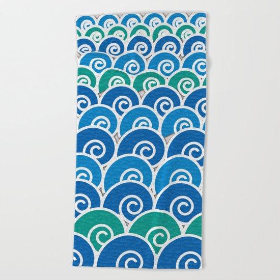 Blue Beach Waves Beach Towel