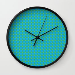 Argyle Pattern | Blue and Green Wall Clock