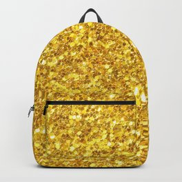Yellow Gold Glitter Print Backpack