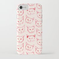 novelty iPhone & iPod Cases featuring Red Cat by leah reena goren